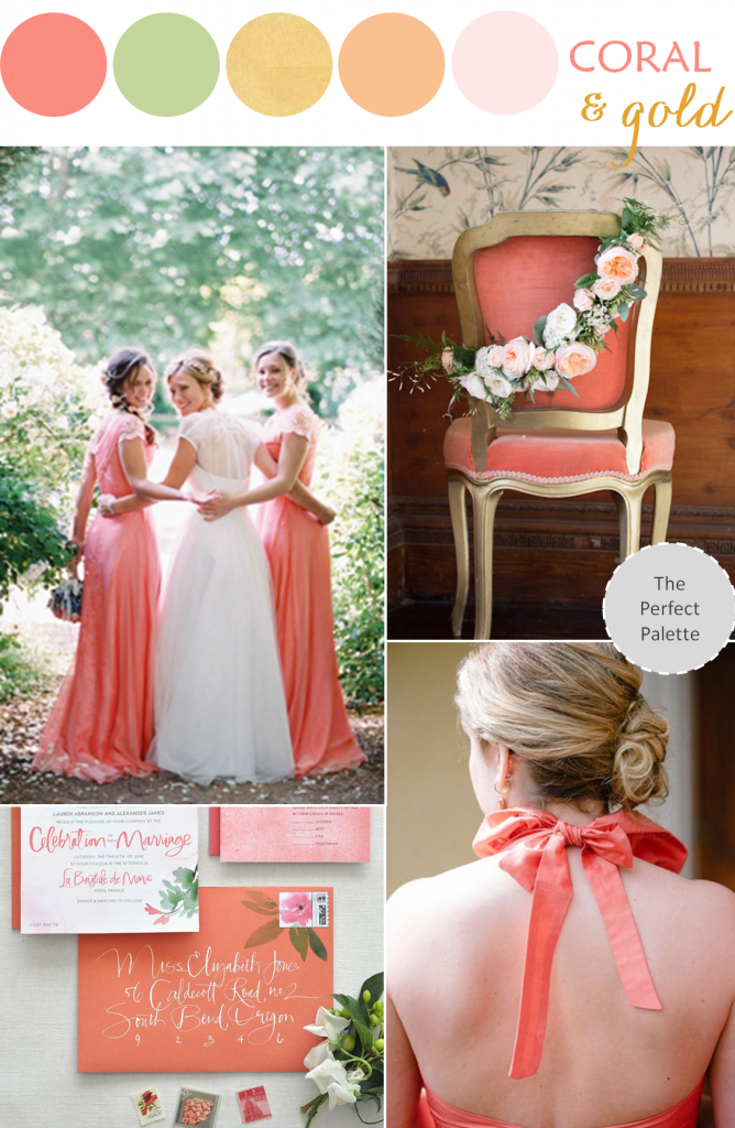Wedding color palette coral green gold the perfect for Color themes for wedding