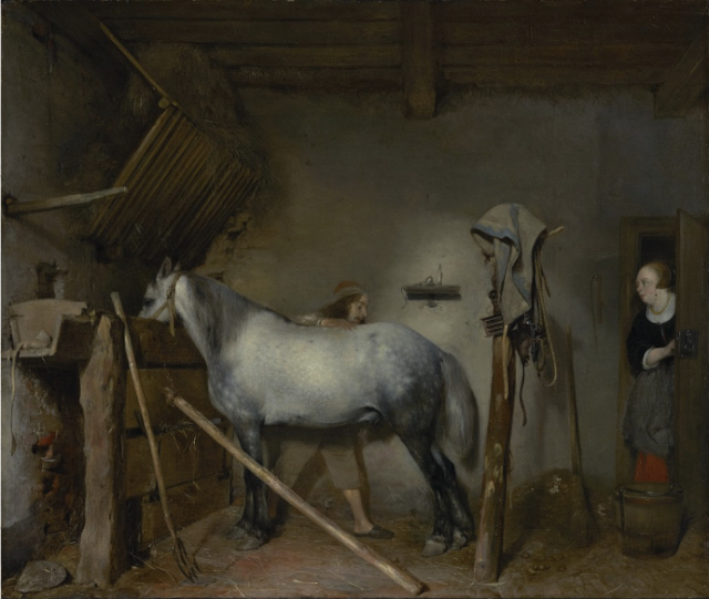 """Horse Stable"" by Gerard ter Borch in Robert Burton's Fellowship of Friends cult collection"