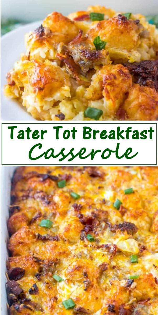 Tater Tot Breakfast Casserole #Breakfastideas