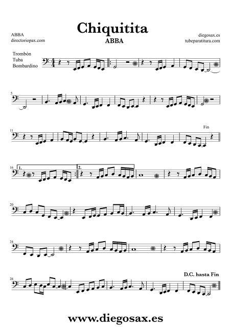 Partitura de Chiquitita para Trombón, Tuba y Bombardino ABBA En 8ª alta Clave de Fa Sheet Music Trombone, Tube and Euphonium Music Scores Chiquitita Bass Clef