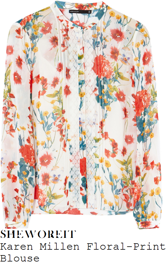 holly-willoughby-karen-millen-white-orange-green-yellow-floral-print-lace-panel-blouse