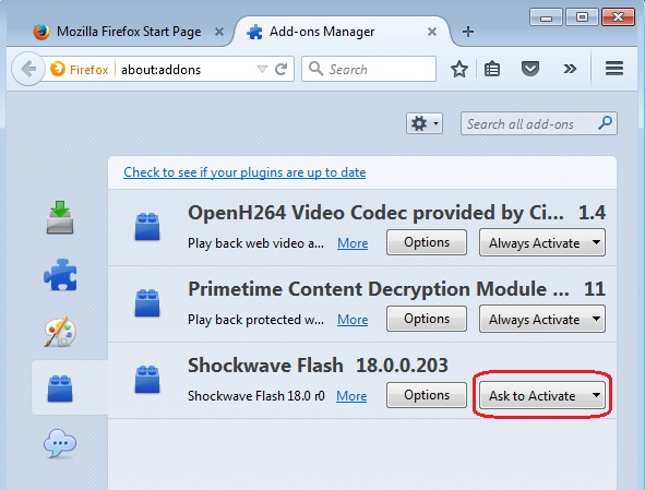 Ask to Activate plugins in Firefox