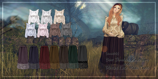 {amiable}Bow Shoulder Knit Top and Pleated Lace Maxi Skirt