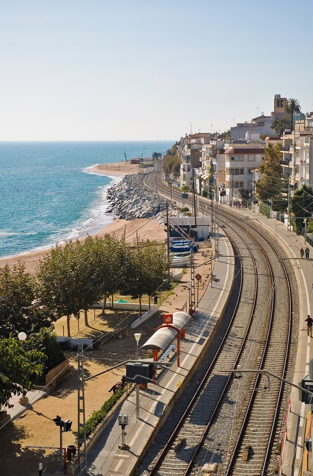 Sant Pol de Mar-View of railroad and the sea, Maresme Coast near Barcelona