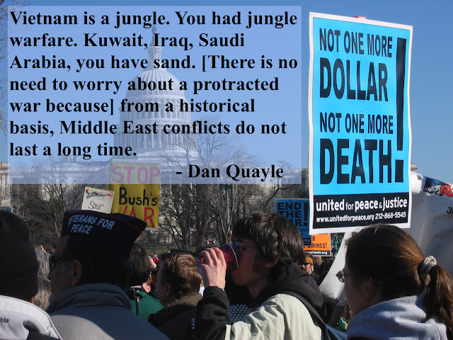 Dan Quayle quote about war in the middle east. Iraq war protest