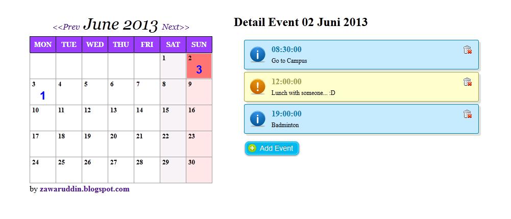 Mari Belajar   !!!: Multiple Event Calendar with Codeigniter