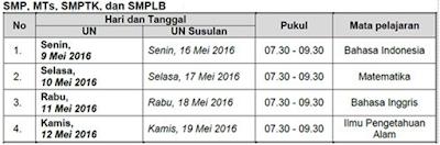 Jadwal UN SMP/MTs/SMPLB dan Paket B Tahun Ajaran 2015/2016