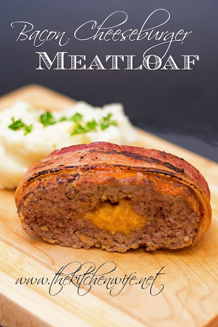 A slice of Bacon Cheeseburger Meatloaf on a cutting board with the title above it.