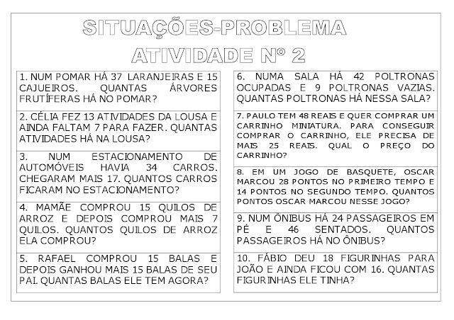 ATIVIDADES SITUAÇÃO PROBLEMA 3o ANO