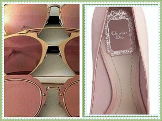 óculos e sapato rosê