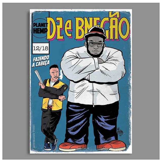 Rap em quadrinho - Marcelo D2 é retratado como Wolverine e o B Negão como Hulk.