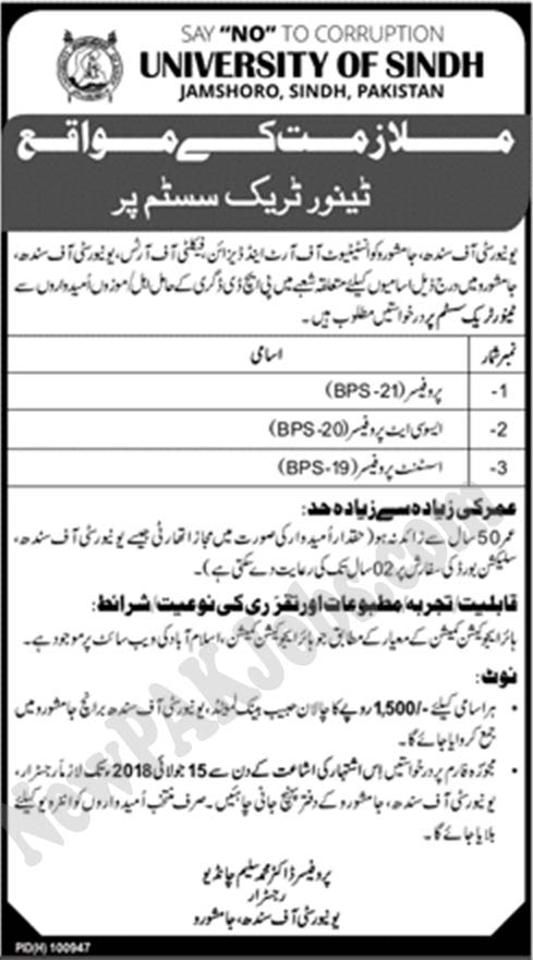 Universit of Sindh Jamshoro Latest Jobs in Sindh June 2018