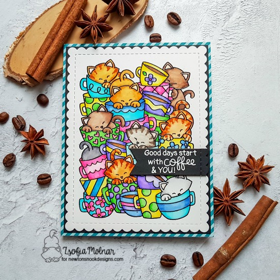 Cat and Coffee Card by Zsofia Molnar | Caffeinated Cats Stamp Set and Frames & Flags Die Set by Newton's Nook Designs #newtonsnook #handmade