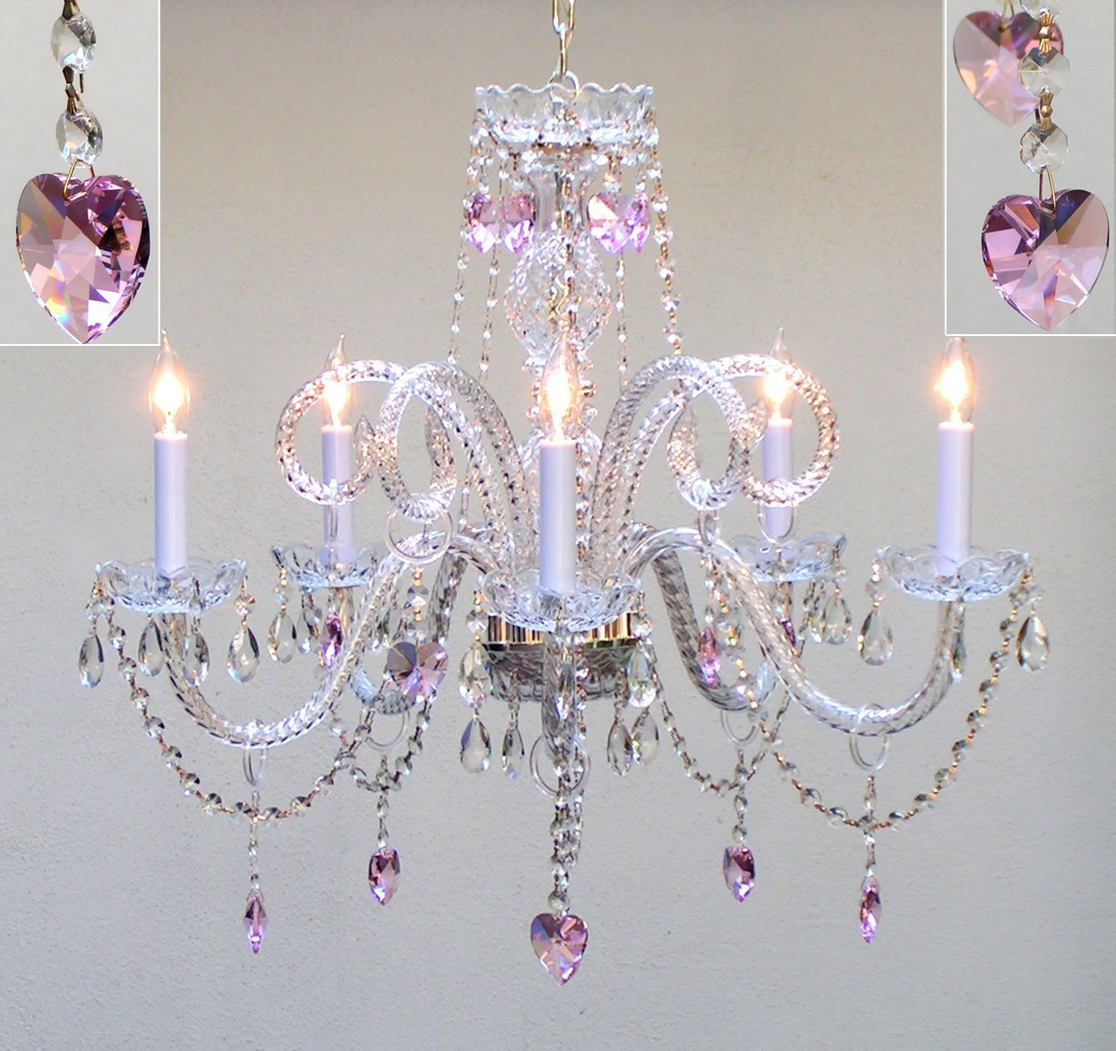 Affordable chandeliers for girls to teens rooms real crystals pink hearts for baby girl to teen chandelier mozeypictures Image collections
