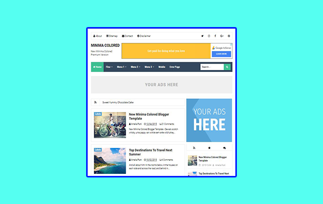 New Minima Colored Premium Blogger Template Free Download