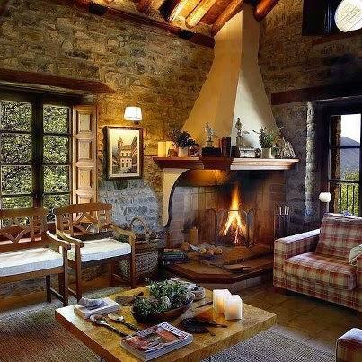 10 fotos de salas r sticas salas con estilo - Poner chimenea piso ...