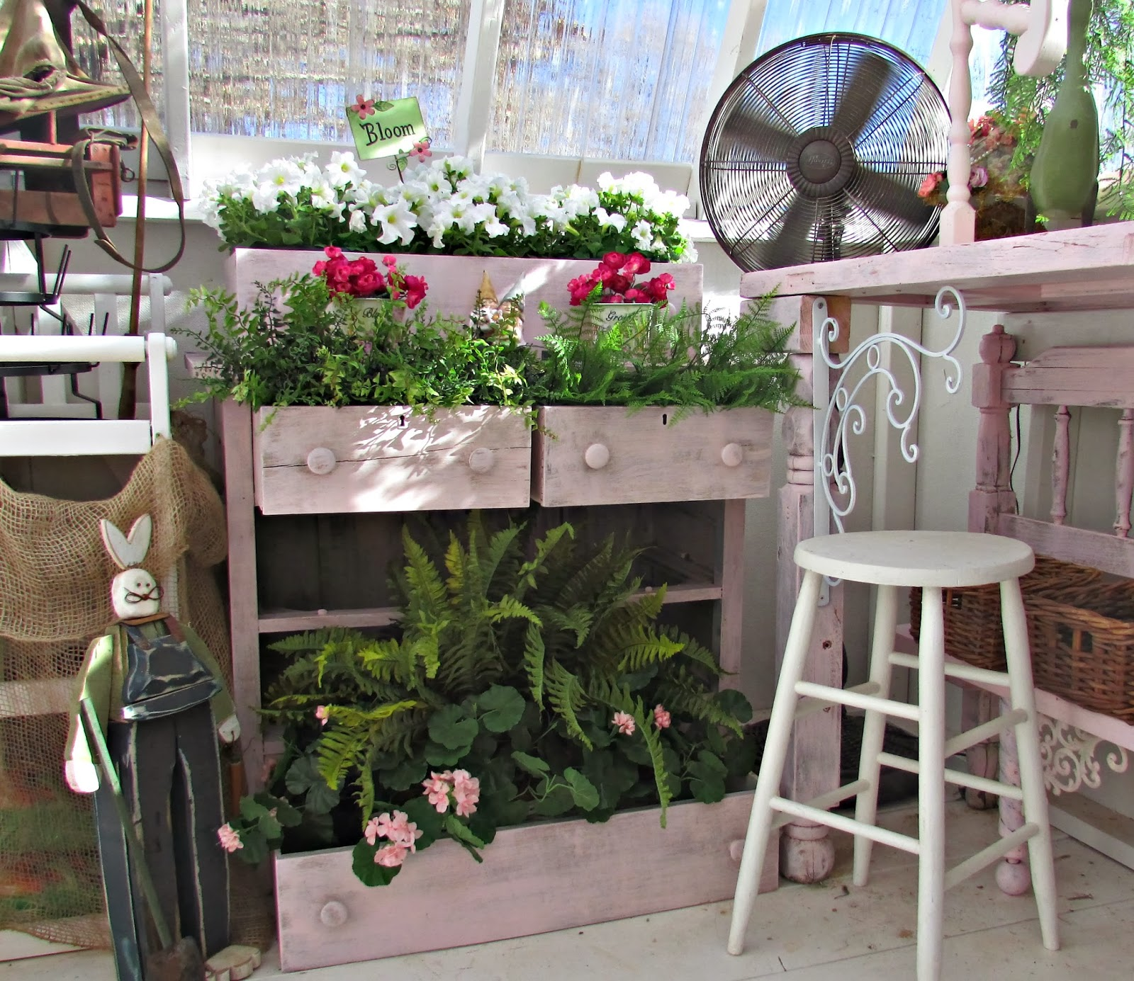 Repurposed chest of drawers in a potting shed - Penny Treasures