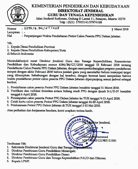 Perpanjangan Ajuan Pretest PPG dalam Jabatan Tahun   PERPANJANGAN MASA PENDAFTARAN PPG DALAM JABATAN TAHUN 2018