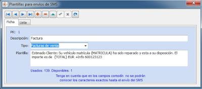 Plantilla SMS del software para taller mecanico