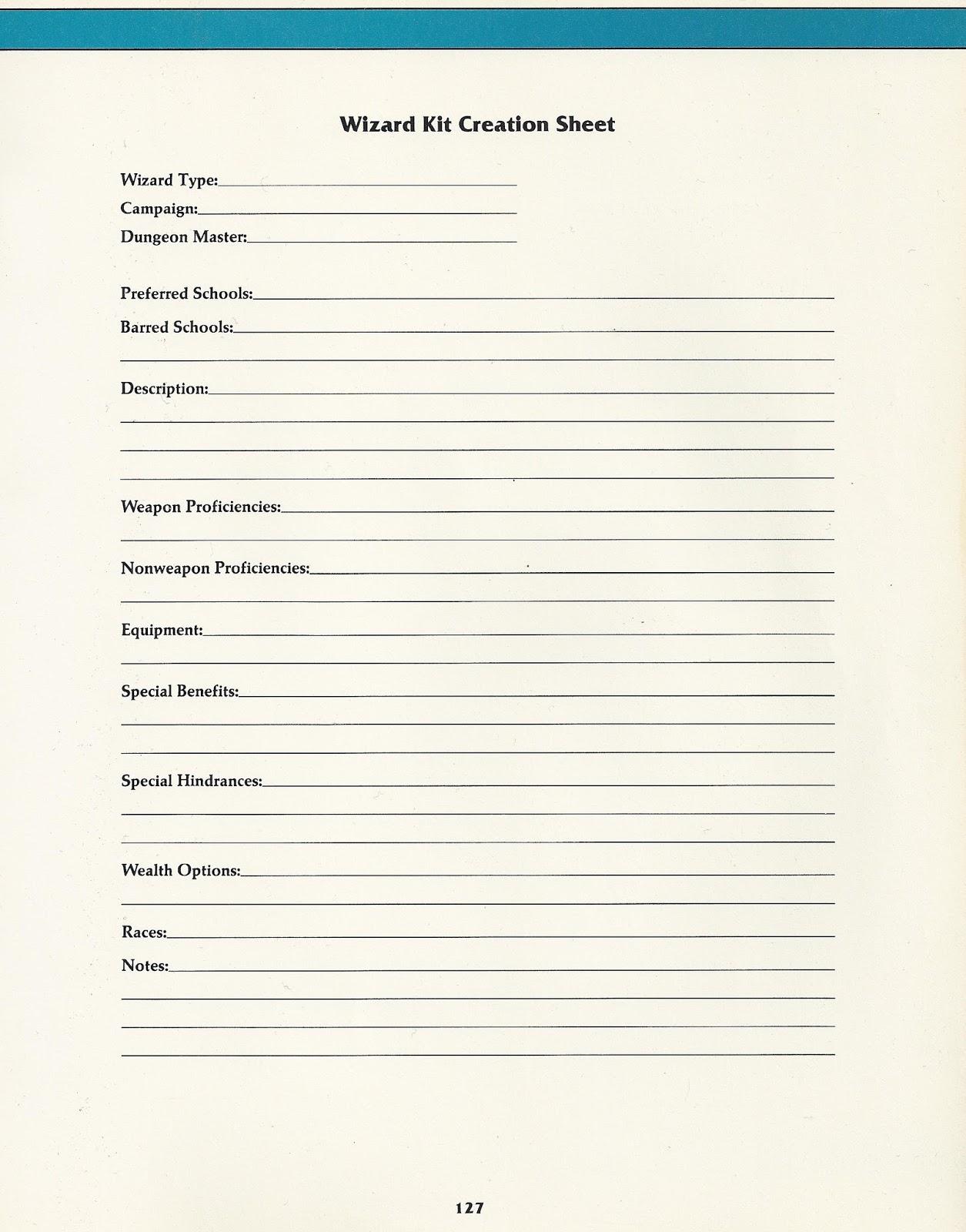create a character sheet