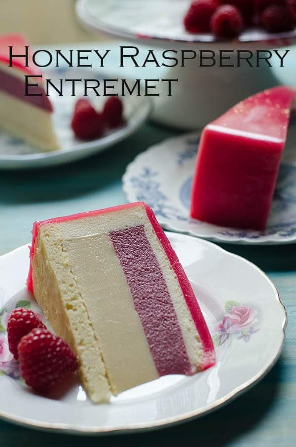Honey, Raspberry White Chocolate Bavarois Entremet