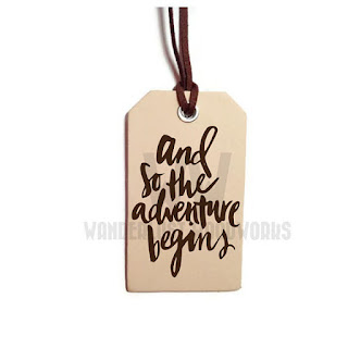 "wanderlust wood works etsy luggage tag made of wood ""and so the adventure begins"""