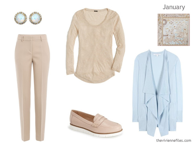 beige and light blue outfit