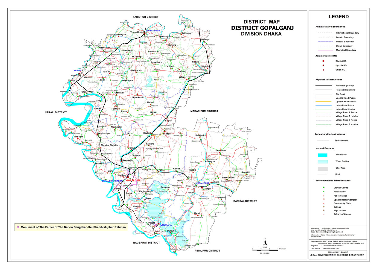 Gopalganj District Map Bangladesh