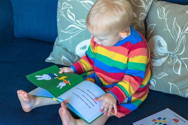 A toddler on a sofa looking at picture of miffy on a seesaw in the miffy at the playground book