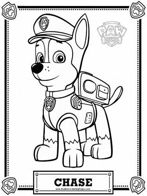 Mewarnai Coloring Paw Patrol Coloring Pages Chase Download Paw
