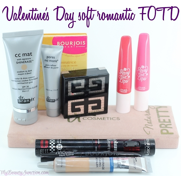 Valentine's Day soft romantic peachy-neutral eye makeup and just-bitten lipstick, using 10 products.