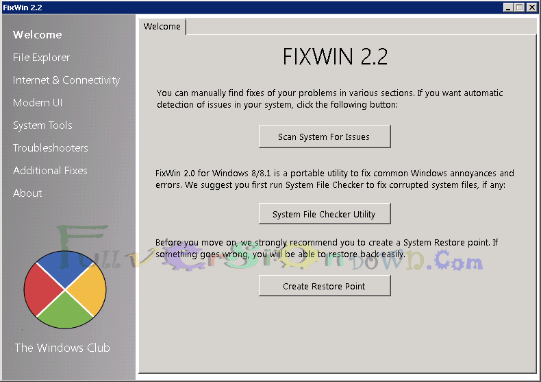 FixWin for Windows Vista-7-8-10 Free