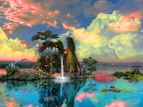 Colourful Fantasy Cloud Backgrounds: Colorful Fantasy World Wallpaper