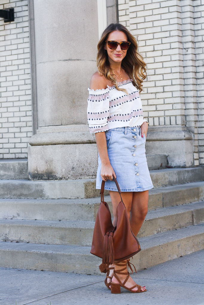 denim skirt and an the shoulder top twenties style