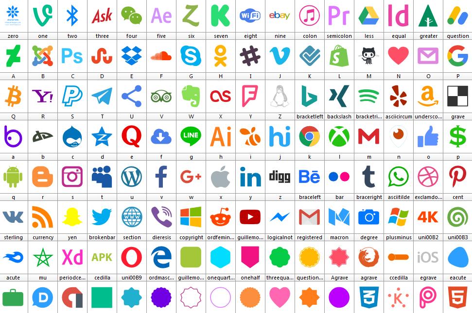 Download Font Icons Color 128 font ttf otf woff woff2