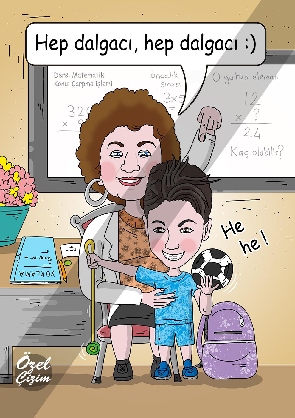 öğretmenler günü hediyesi, öğretmene hediye, hediye karikatür, karikatür, karikatür portre, öğretmenler günü için hediyeler, Özel Çizim, komik hediye, komik öğretmen,