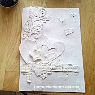 Paper Learning Curve - Grá O'Neill : Prima Finnabair Honey Comb, Vintage Vanity Harlequin, Clearly Besotted Brushed Poppies, Prima Finnabair Bubbles, Stars, Simon Says Stamp Falling Snow stencil, My Favorite Things Equalizer Stencil, Stitched Fancy Flourish, Lawn Fawn Stitched Hearts, Hearts Lawn Cuts