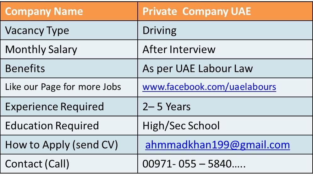 uae  driver jobs