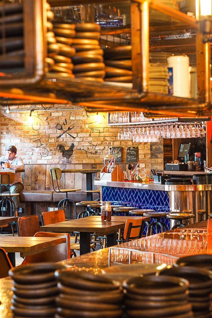 Interior of Chicken Society restaurant, Finchley