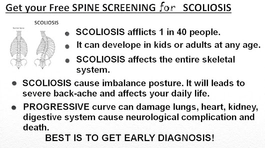 Free Spine Screening for Scoliosis - 24th April 2016.....