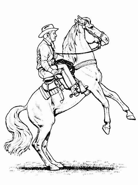 Image Detail For Horse Coloring Page Of Cowboy And Rearing Horse
