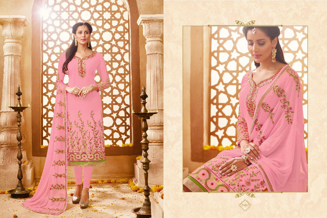 Kavya-75 – Designer Faux Georgette Semi Stitched Embroidery Salwar Suit