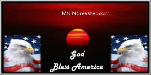 MN Noreaster logo 2 eagles facing with God Bless America between on dark red sunset