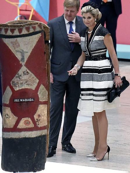 Queen Maxima wears Claes Iversen Fancy Dress, Jimmy Choo shoes