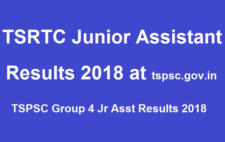 TSRTC Junior Assistant Results 2018