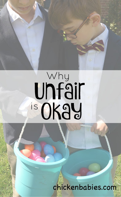 Interesting thoughts about why it's okay to let things be unfair! Give kids practice thinking of others