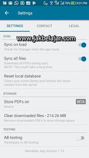Tanpilan setting pada aplikasi Mendeley Android