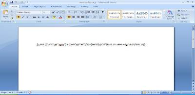 Cara Menghitung Umur Lewat Field Dokumen MS Office Word 2007