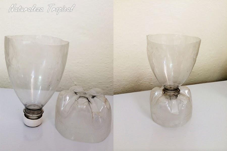 Botella plástica recortada para elaborar la copa vegetal