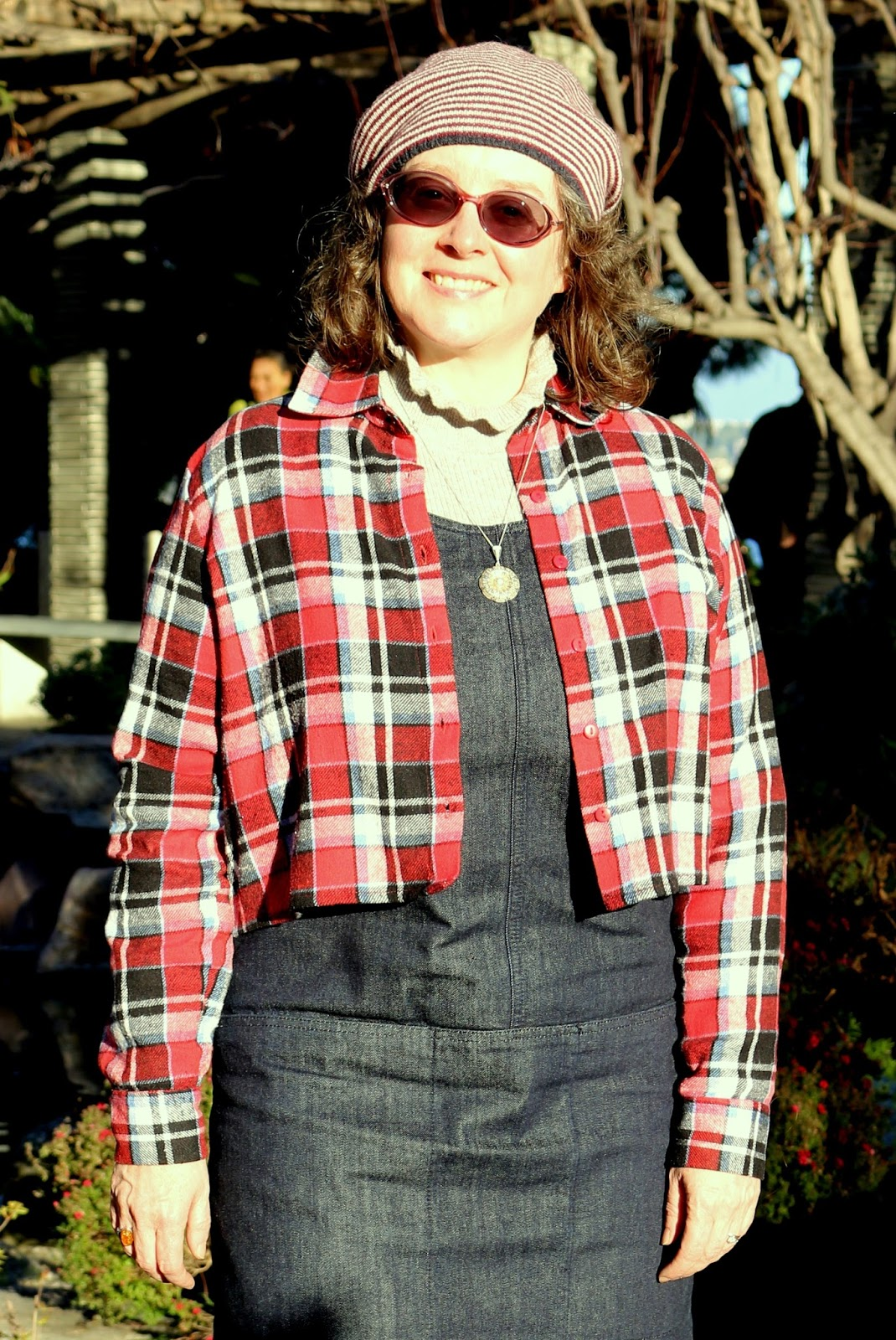 Playing with Proportions; Cropped Plaid Shirt and Denim Dungarees Dress | Petite Silver Vixen